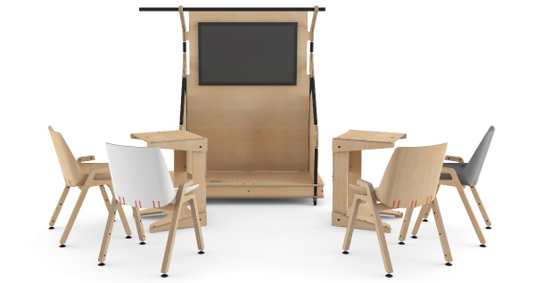 hub with laptop tables and stak wood chairs