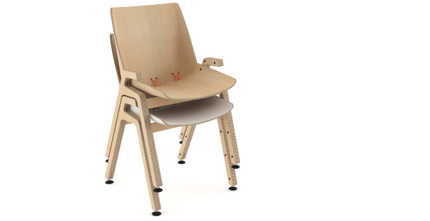 stak chair wood stacked