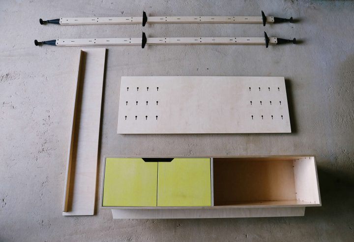 RAW Studios plywood furniture systems wall mounted - Africa Institute Construction