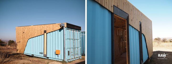 RAW Studios Nestling: Micro-living (work-in-progress) container, small living places with engineered wood materials