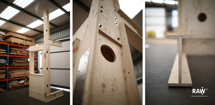 RAW Studios' modular affordable timber frame buildings and homes with plywood I-beams