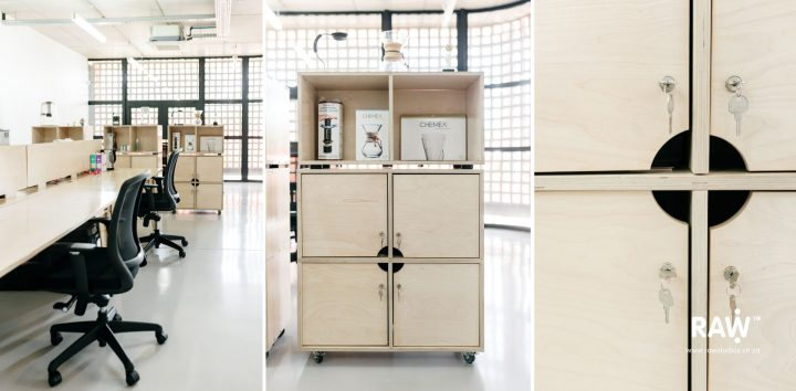 Tribeca workspaces - functional plywood workstations and storage furniture